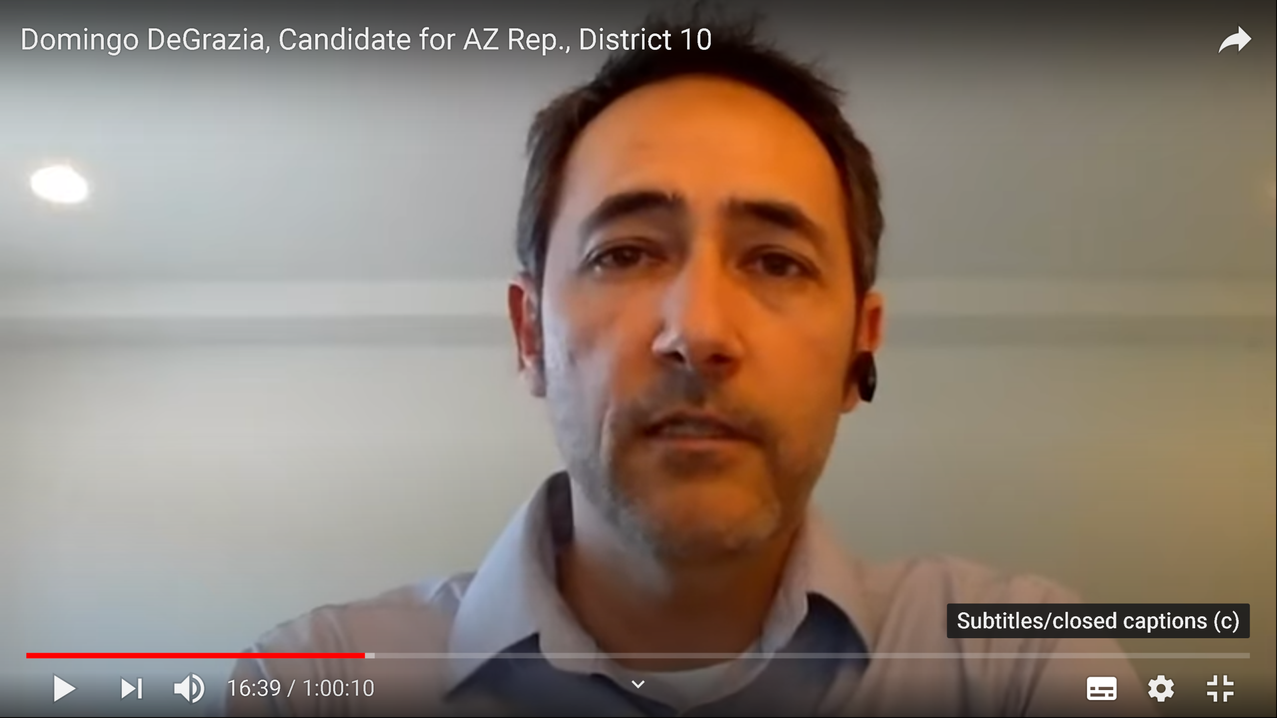 WATCH: Domingo DeGrazia, Candidate for AZ Rep., District 10