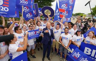 Joe Biden and volunteers