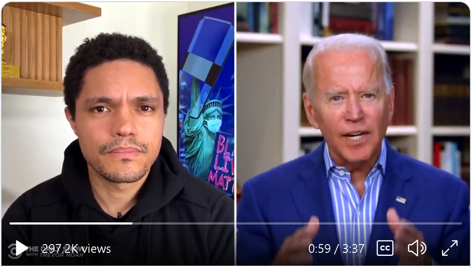 Watch Joe Biden on the Trevor Noah Show